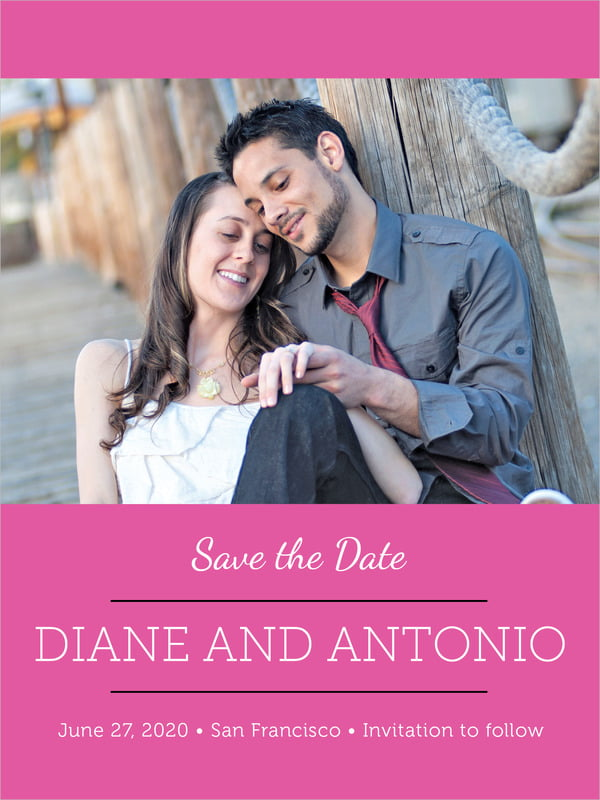 custom tall save the date cards - bright pink - modern museo (set of 10)