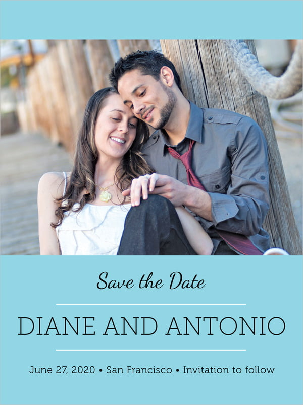 custom tall save the date cards - bahama blue - modern museo (set of 10)