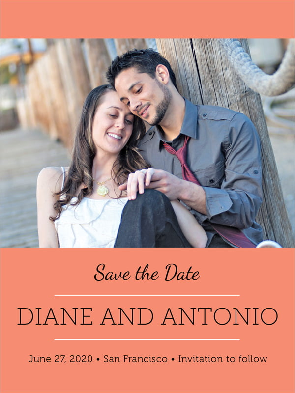 custom tall save the date cards - coral - modern museo (set of 10)