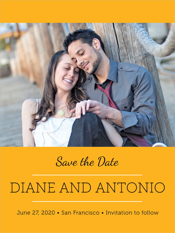 custom tall save the date cards - orange - modern museo (set of 10)