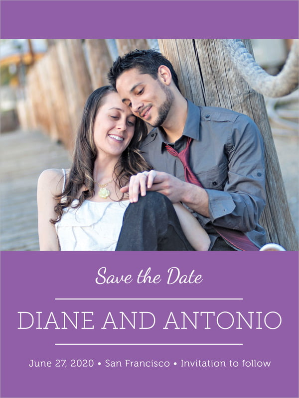 custom tall save the date cards - plum - modern museo (set of 10)