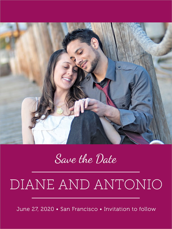 custom tall save the date cards - burgundy - modern museo (set of 10)