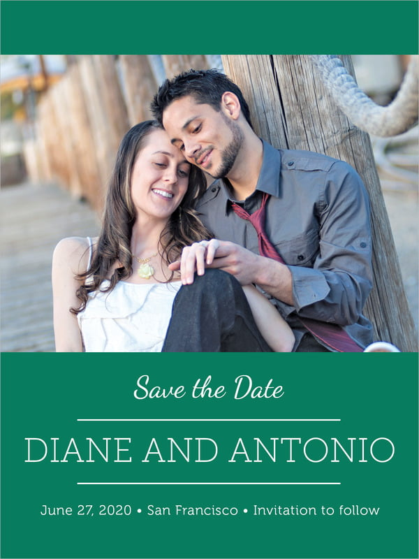 custom tall save the date cards - deep green - modern museo (set of 10)