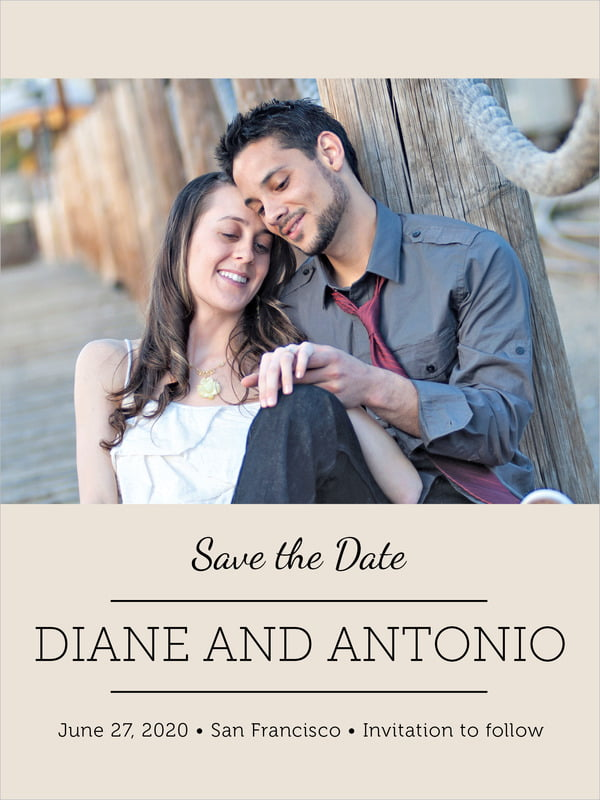 custom tall save the date cards - champagne - modern museo (set of 10)