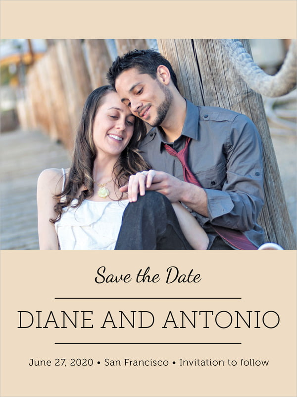 custom tall save the date cards - cappuccino - modern museo (set of 10)