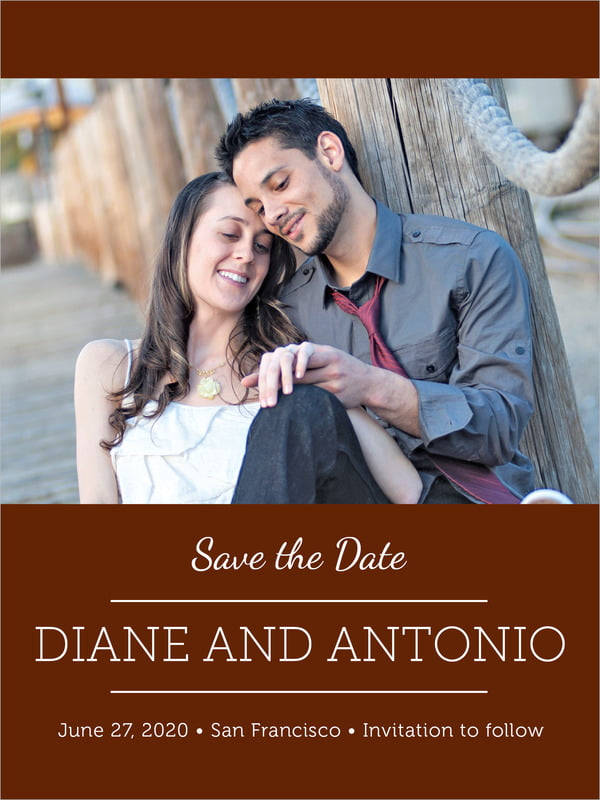 custom tall save the date cards - chocolate - modern museo (set of 10)