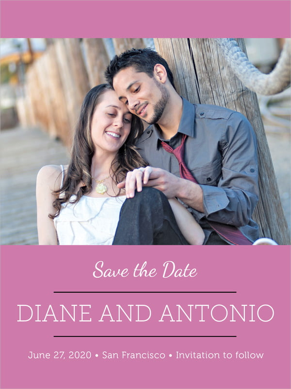 custom tall save the date cards - radiant orchid - modern museo (set of 10)