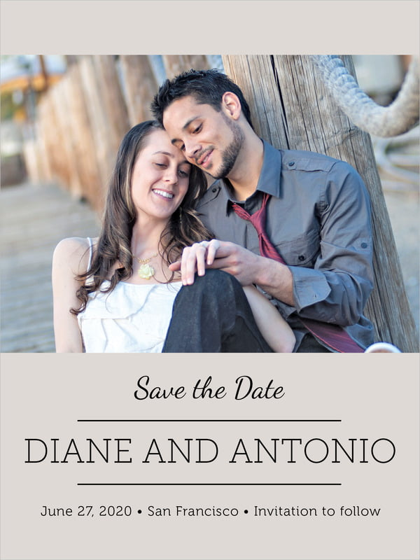 custom tall save the date cards - stone - modern museo (set of 10)