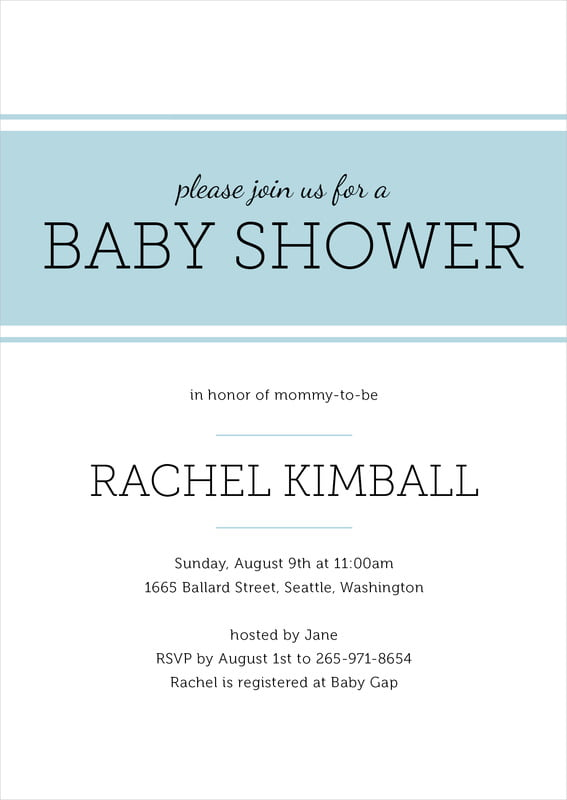 baby shower invitations - blue mist - modern museo (set of 10)