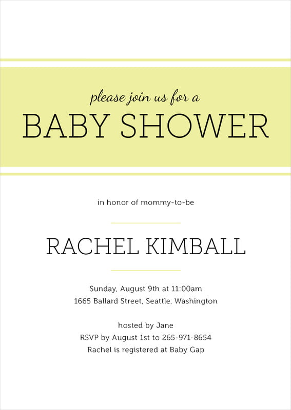 baby shower invitations - chartreuse - modern museo (set of 10)