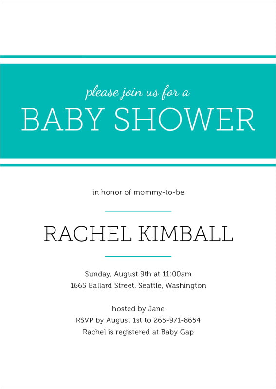 baby shower invitations - turquoise - modern museo (set of 10)