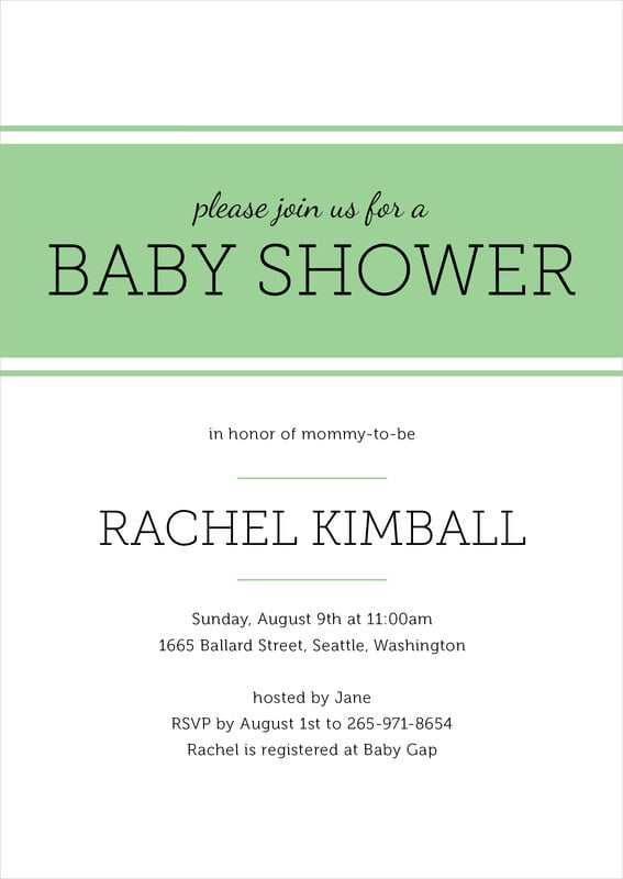 baby shower invitations - light green - modern museo (set of 10)