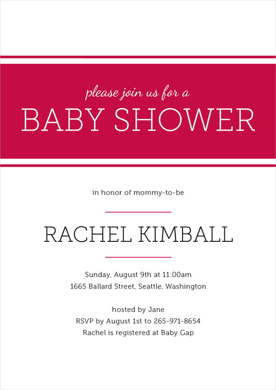 baby shower invitations - deep red - modern museo (set of 10)