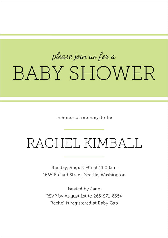 baby shower invitations - lime - modern museo (set of 10)