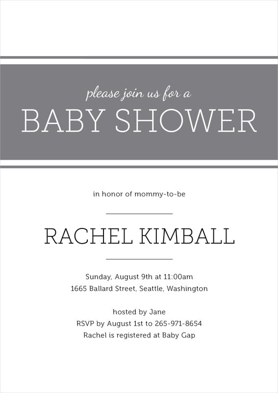 baby shower invitations - charcoal - modern museo (set of 10)