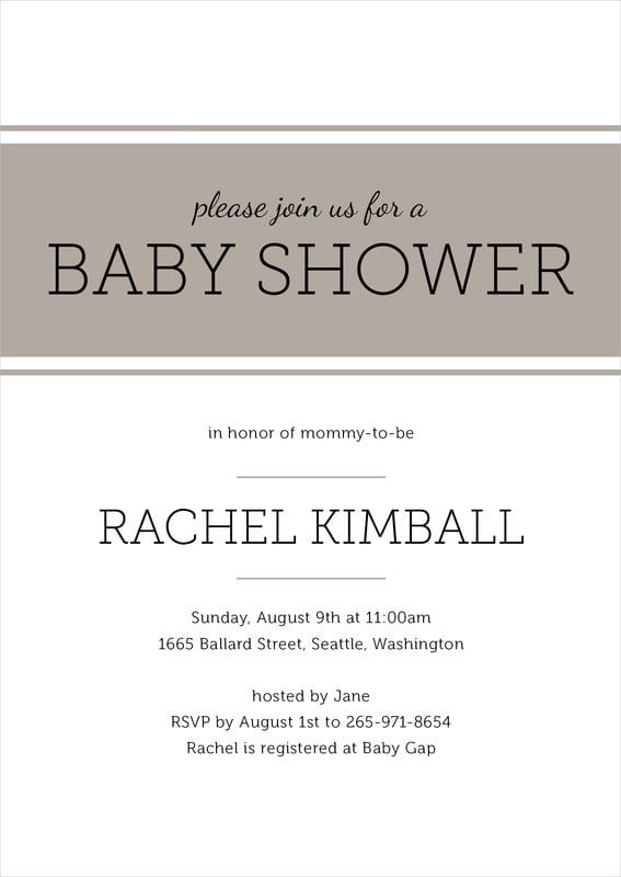 baby shower invitations - warm grey - modern museo (set of 10)
