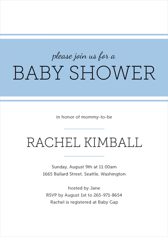 baby shower invitations - blue - modern museo (set of 10)