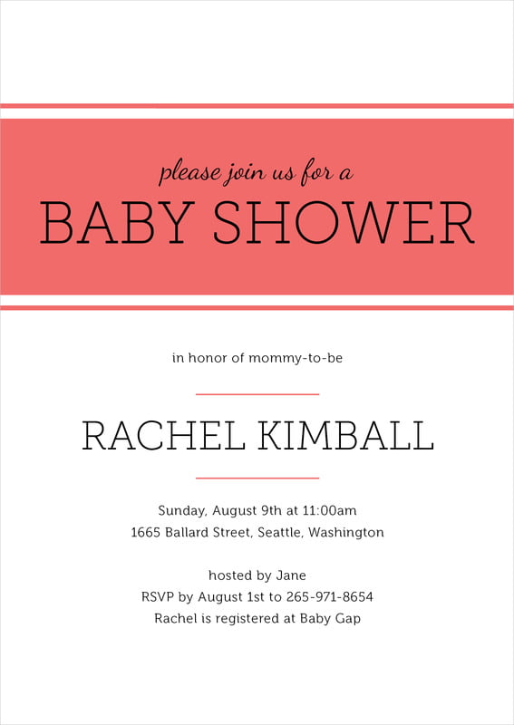 baby shower invitations - deep coral - modern museo (set of 10)