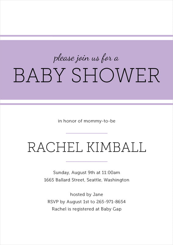baby shower invitations - lilac - modern museo (set of 10)