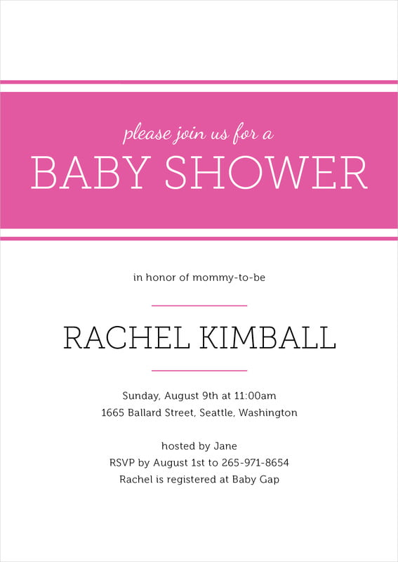 baby shower invitations - bright pink - modern museo (set of 10)