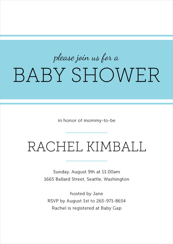 baby shower invitations - bahama blue - modern museo (set of 10)