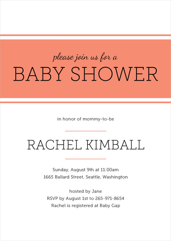 baby shower invitations - coral - modern museo (set of 10)