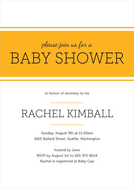 baby shower invitations - orange - modern museo (set of 10)