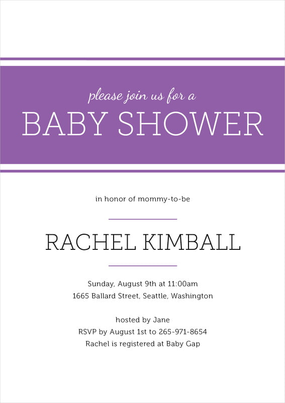 baby shower invitations - plum - modern museo (set of 10)