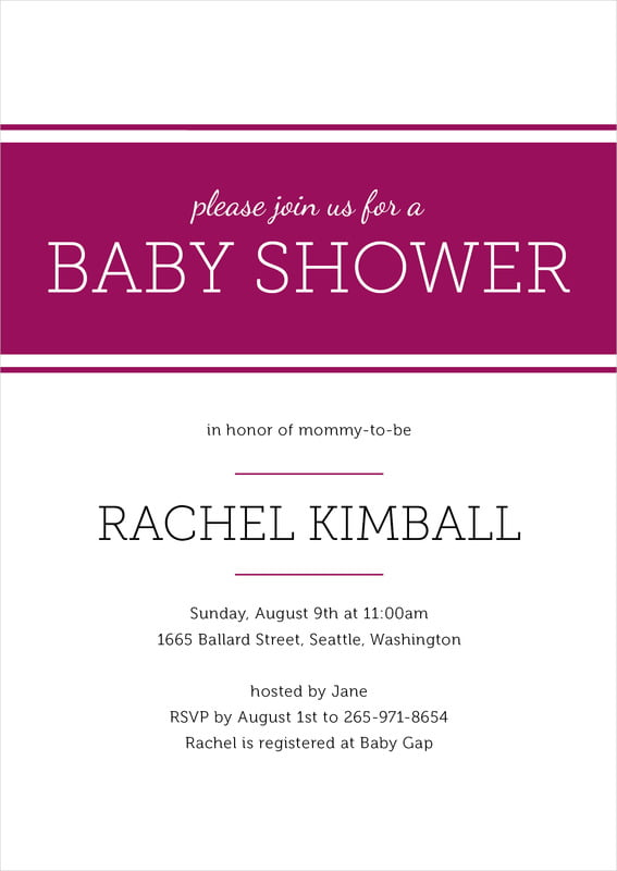 baby shower invitations - burgundy - modern museo (set of 10)