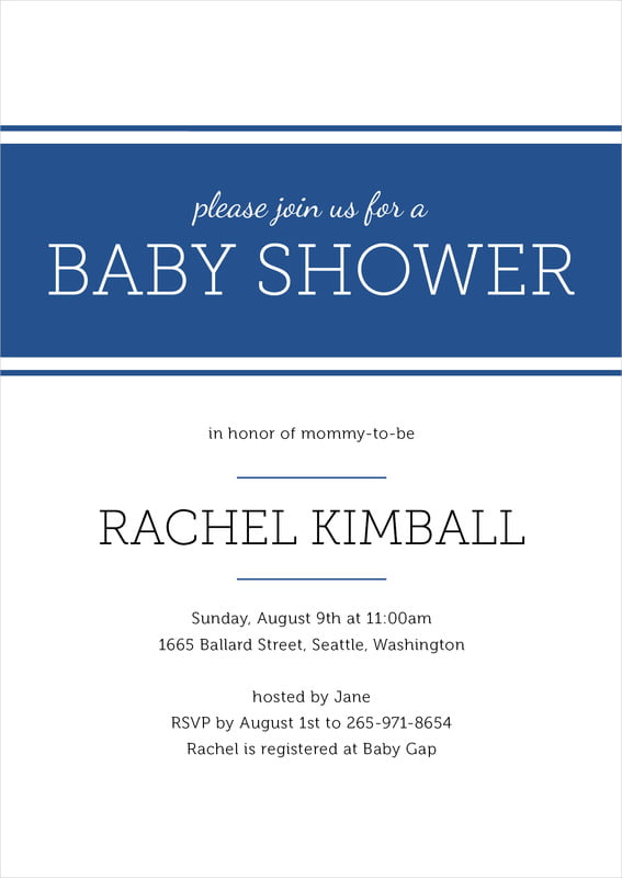 baby shower invitations - deep blue - modern museo (set of 10)