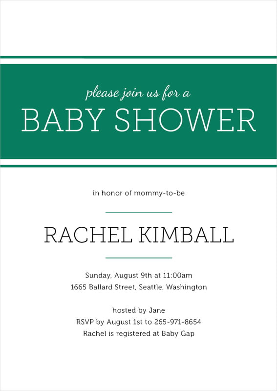 baby shower invitations - deep green - modern museo (set of 10)