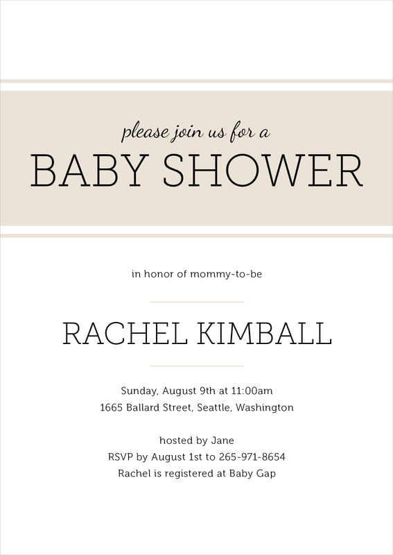 baby shower invitations - champagne - modern museo (set of 10)