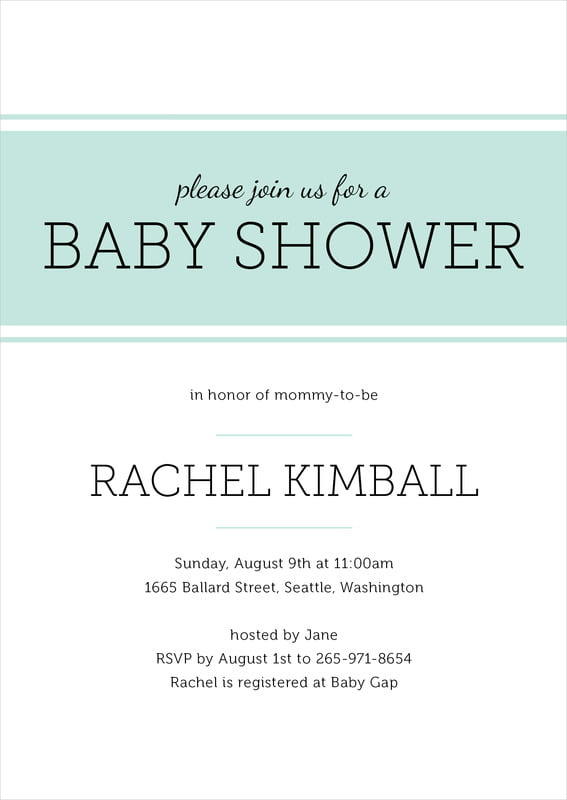 baby shower invitations - sea glass - modern museo (set of 10)