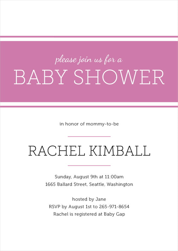 baby shower invitations - radiant orchid - modern museo (set of 10)