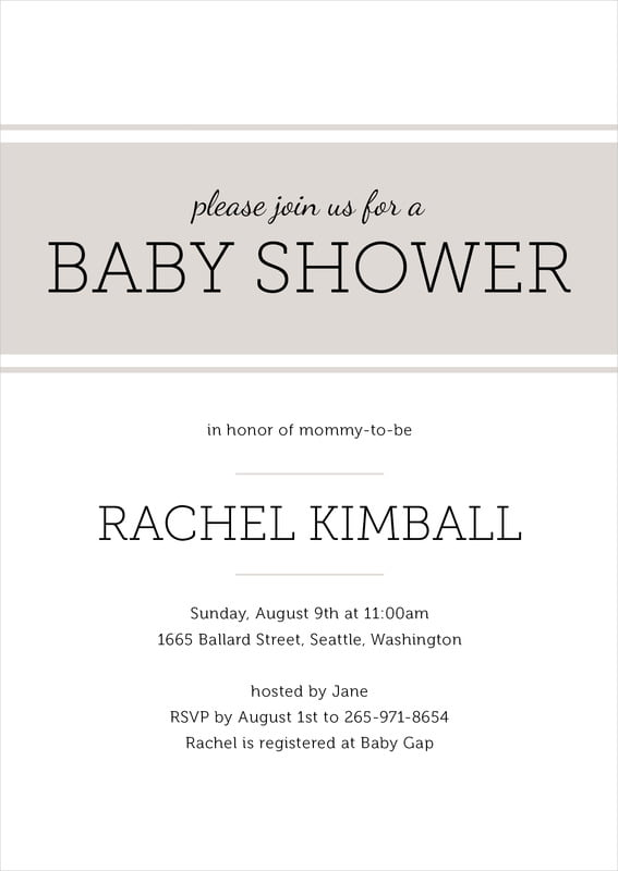 baby shower invitations - stone - modern museo (set of 10)