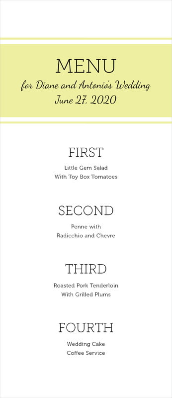 custom menus - chartreuse - modern museo (set of 10)
