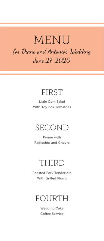 custom menus - peach - modern museo (set of 10)