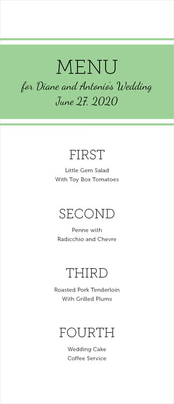 custom menus - light green - modern museo (set of 10)