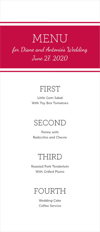 custom menus - deep red - modern museo (set of 10)