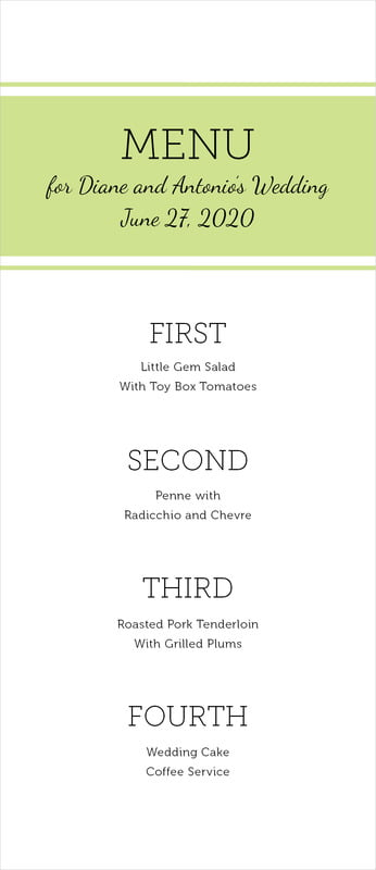 custom menus - lime - modern museo (set of 10)
