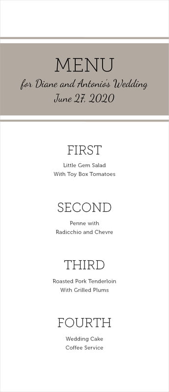 custom menus - warm grey - modern museo (set of 10)