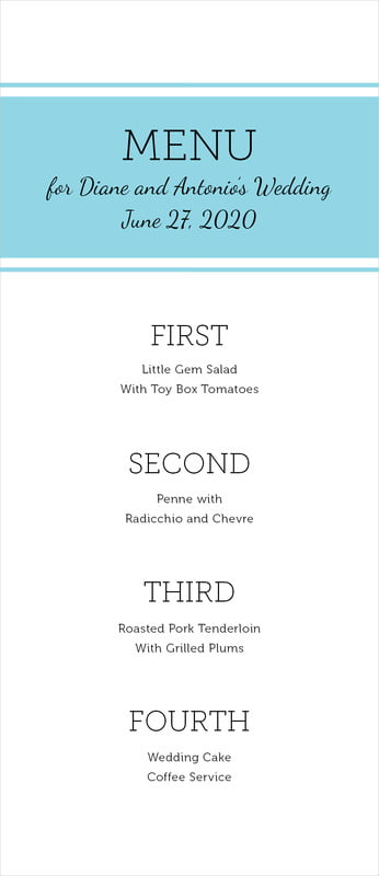 custom menus - bahama blue - modern museo (set of 10)