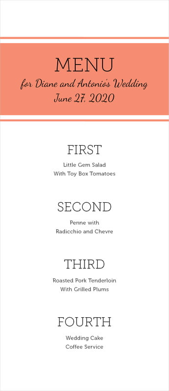 custom menus - coral - modern museo (set of 10)