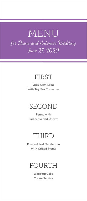 custom menus - plum - modern museo (set of 10)