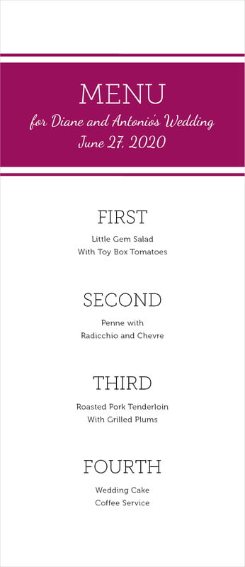custom menus - burgundy - modern museo (set of 10)