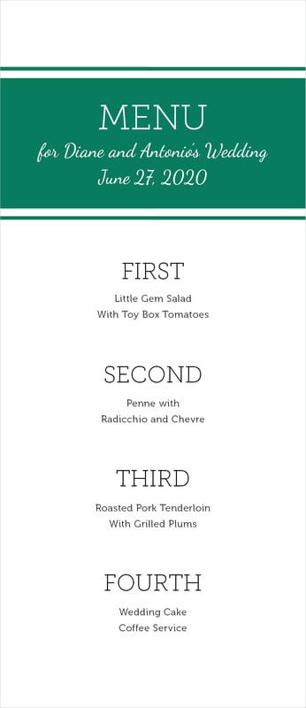 custom menus - deep green - modern museo (set of 10)