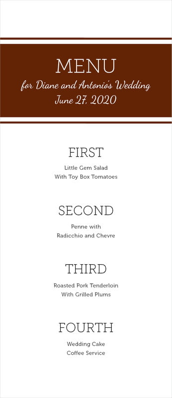 custom menus - chocolate - modern museo (set of 10)