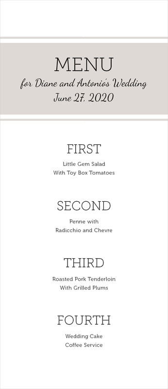 custom menus - stone - modern museo (set of 10)