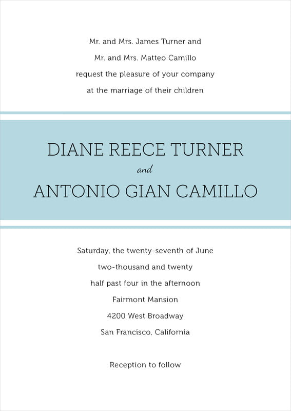 custom invitations - blue mist - modern museo (set of 10)