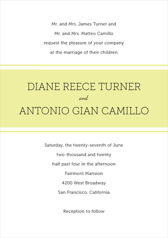 custom invitations - chartreuse - modern museo (set of 10)